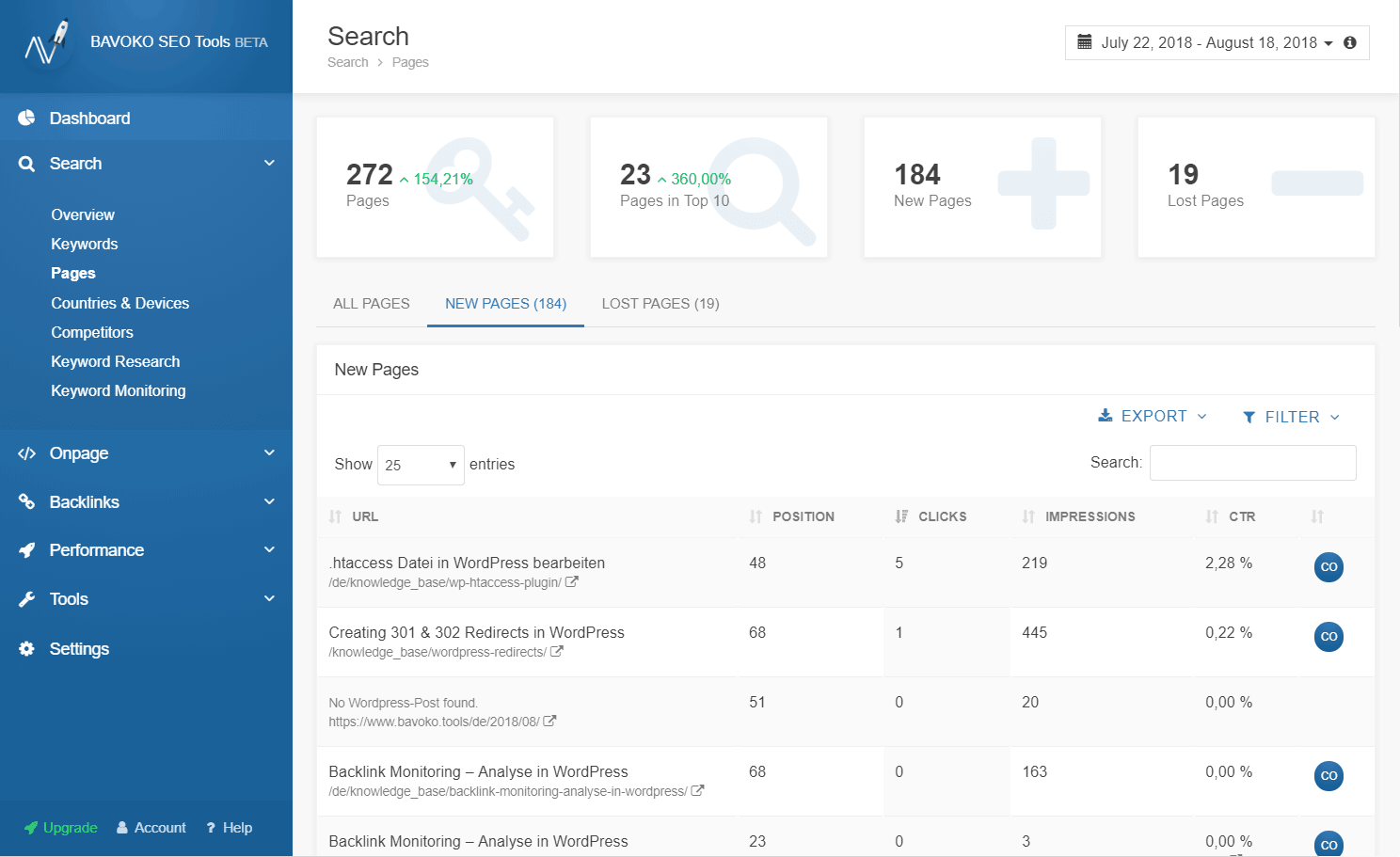Analyze new pages